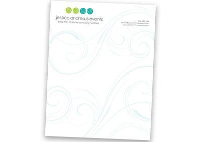 Corporate Design | Letterhead | Jessica Andrews Events | Folsom