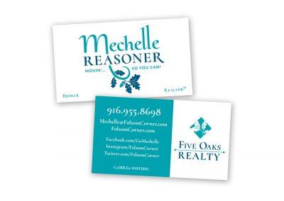 Corporate Design | Business Card | Mechelle Reasoner & Five Oaks Realty | Folsom
