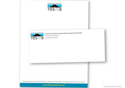 Political Design | Letterhead | Yes on Measure B | Sacramento