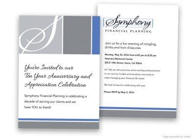 Corporate Design | Events | Symphony Financial Invitation | Davis