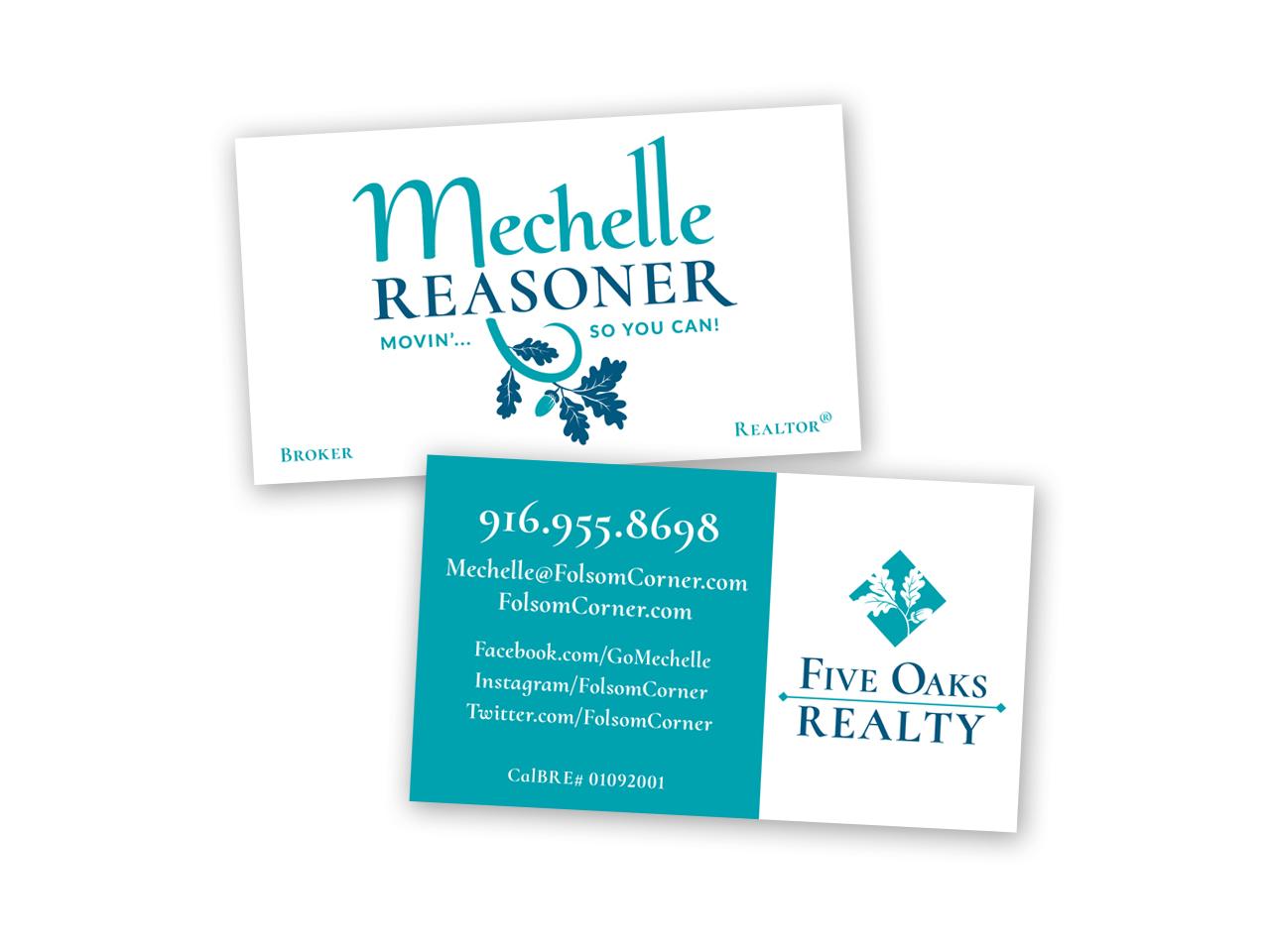 Corporate Design | Business Card Reasoner Five Oaks Realty Sacramento